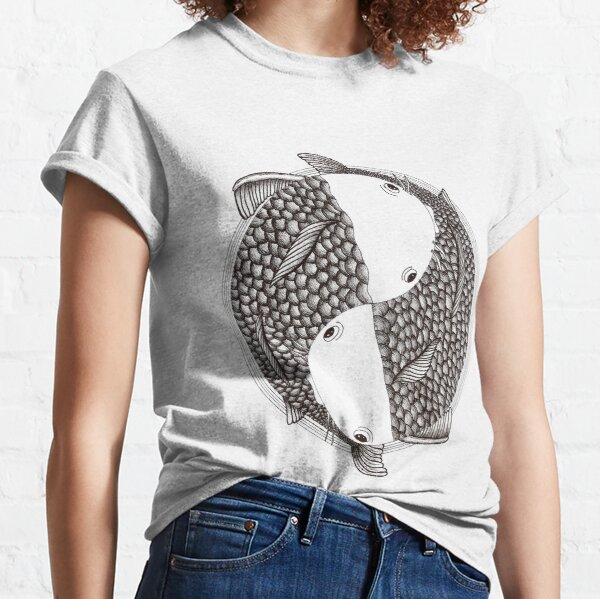 Pisces - Fish Koi - Japanese Tattoo Style (black and white) Classic T-Shirt