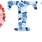 POTUS Female Symbol Hillary Blue And Red Roses Letters by artonwear