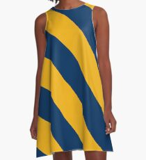 Morgantown West Virginia Gold & Navy Team Color Stripes A-Line Dress