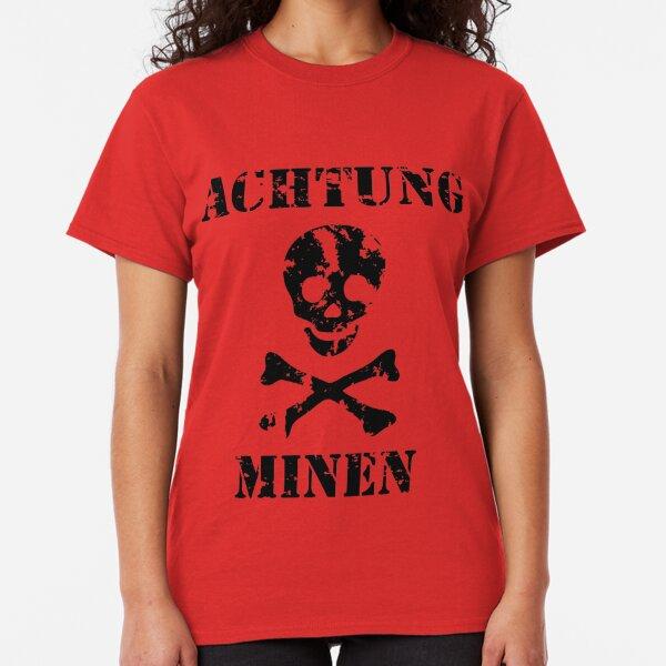 """Grungy """"Achtung Minen"""" Warning Classic T-Shirt"""