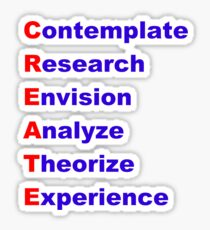 Create Acrostic (Contemplate, Research, Analyse, Theorize, Experience) Sticker
