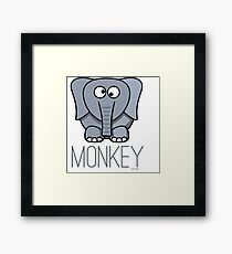 Funny Monkey Elephant Design Framed Print