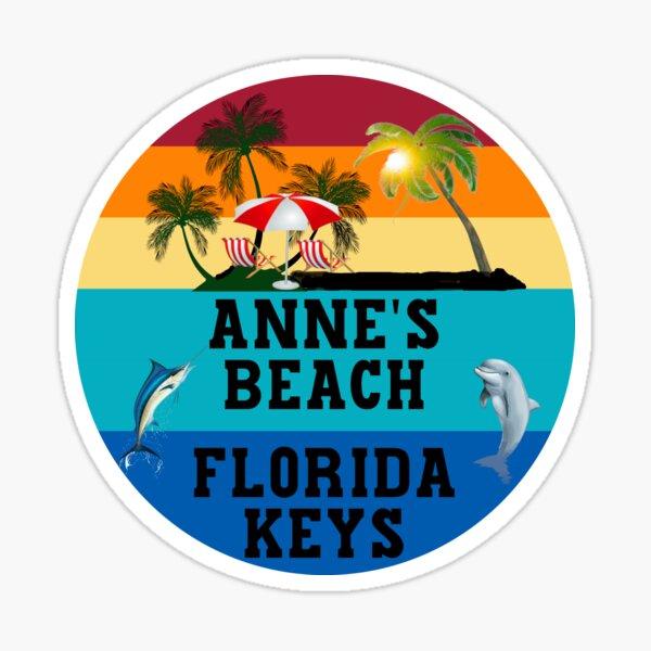 Florida Keys Annes Beach Beach Chairs Umbrella Palm Trees Sunset Sunrise Retro Blue Sticker