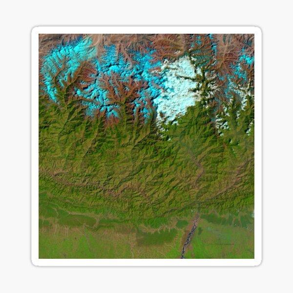 Mount Everest Nepal Satellite Image Sticker