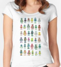 Robot Line-up on White - fun pattern by Cecca Designs Women's Fitted Scoop T-Shirt