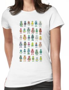 Robot Line-up on White Womens Fitted T-Shirt