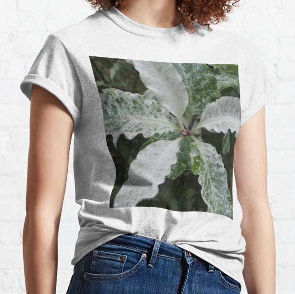 Green and White Bush Leaves Classic T-Shirt
