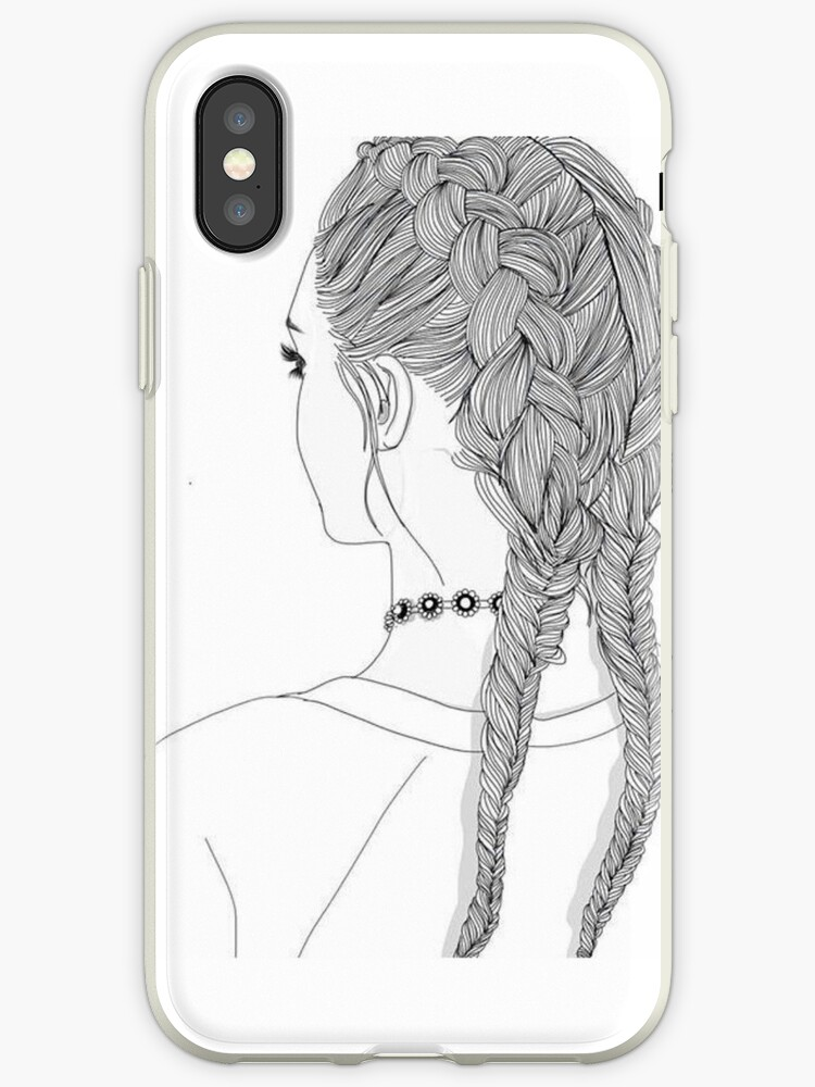 Outline Girl 2 Braids Tumblr Transparent Iphone Cases Covers By