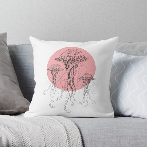 Jelly Fish - - Sea Water - Ocean Creatures Throw Pillow