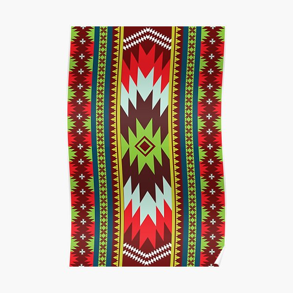 Ethnic Maxican Aztec pattern with Green Red Celebrating Christmas and New Years Poster