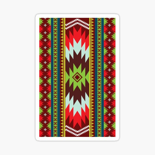 Ethnic Maxican Aztec pattern with Green Red Celebrating Christmas and New Years Sticker