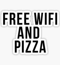 Free Wifi and Pizza Sticker