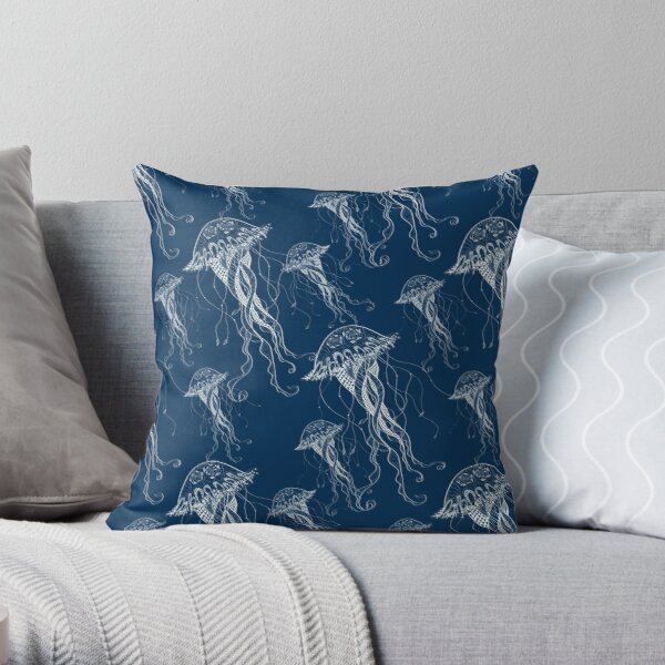 Jelly Fish - Sea Water - Ocean Creatures - White Throw Pillow