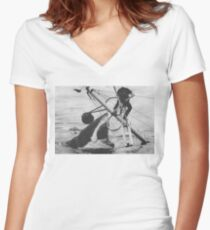 Jaws Women's Fitted V-Neck T-Shirt