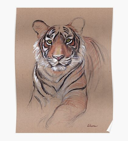 UNFINISHED BUSINESS - Original Tiger Drawing - Mixed Media (acrylic paint & pencil) Poster