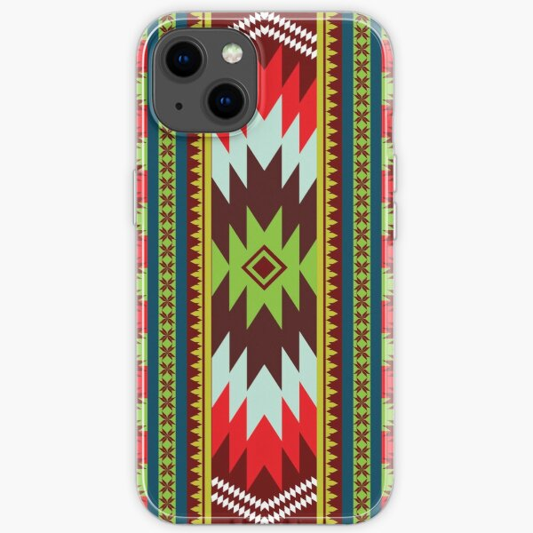 Ethnic Maxican Aztec pattern with Green Red Celebrating Christmas and New Years iPhone Soft Case