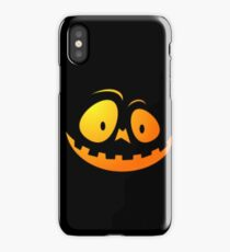 Cheeky Pumpkin Face on Cat Black iPhone Case/Skin