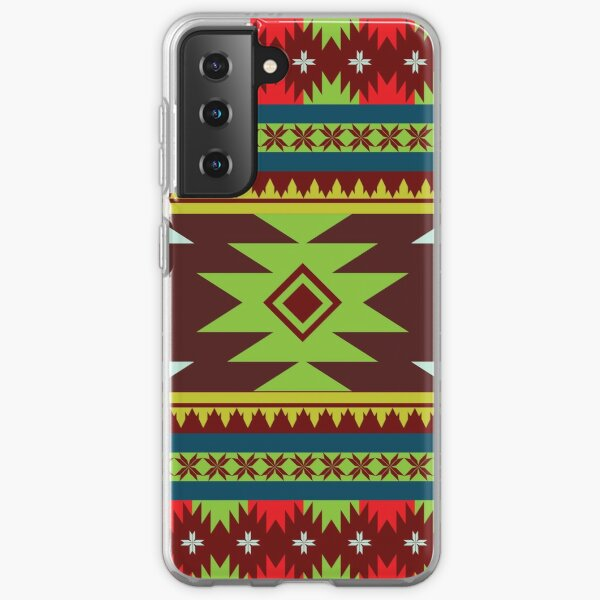 Horizontal Ethnic Maxican Aztec pattern with Green & Red Samsung Galaxy Soft Case