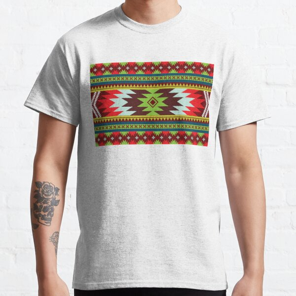 Horizontal Ethnic Maxican Aztec pattern with Green & Red Classic T-Shirt