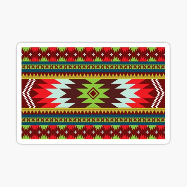Horizontal Ethnic Maxican Aztec pattern with Green & Red Sticker