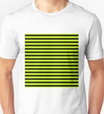 Slime Green and Black Horizontal Witch Stripes Unisex T-Shirt