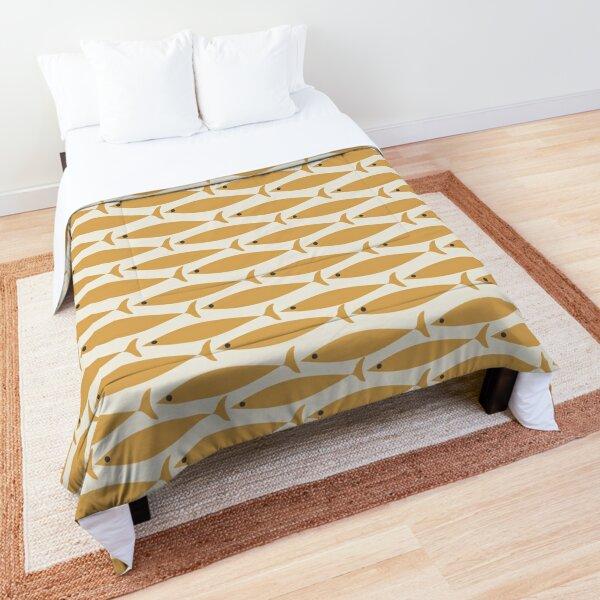 Mid Century Modern Fish Stripe Pattern in Muted Mustard Gold and Cream Beige Comforter