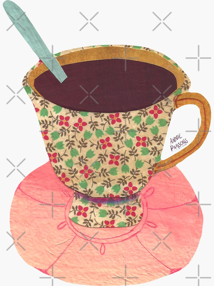 Collage Floral Teacup by annieparsons