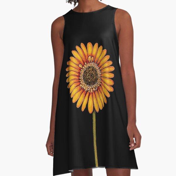 Yellow Gerbera A-Line Dress
