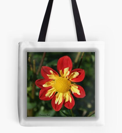 Red and Yellow ~ Collerette Dahlia Tote Bag