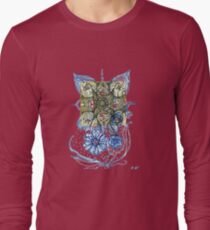 Floral Spirals Yellow and Blue  Long Sleeve T-Shirt