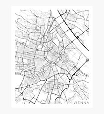 Vienna Map, Austria - Black and White Photographic Print