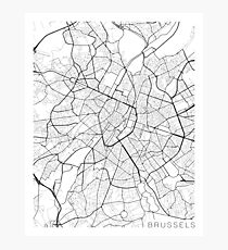 Brussels Map, Belgium - Black and White Photographic Print