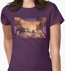 Tropical Island at Sunset Womens Fitted T-Shirt