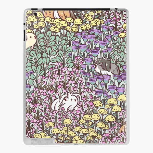 Long Haired Guinea pigs and Floral Garden pattern iPad Skin
