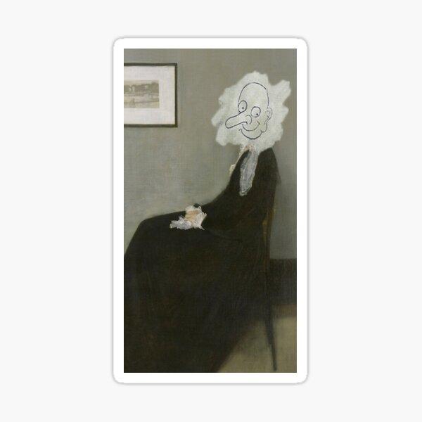 H7284 Mr Bean Whistler's Mother Painting Sticker
