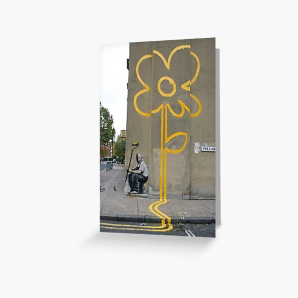 Banksy Yellow Lines Flower Painter Greeting Card