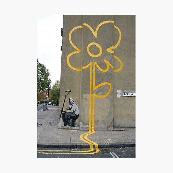 Banksy Yellow Lines Flower Painter Photographic Print