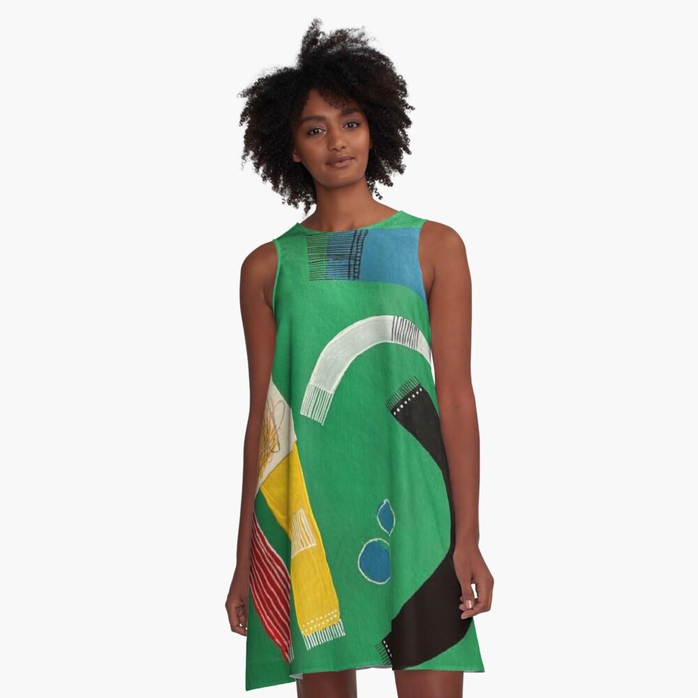 Green Rug Bugs A-Line Dress