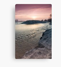 sunset on the big river Canvas Print