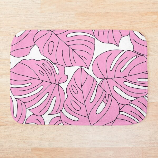 Pink Palm Leaves Graphic Design Pattern On White Bath Mat
