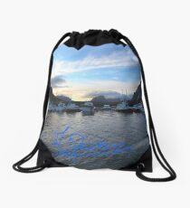 Lofoten Islands - Reine port - Norway . Anno Domini 2011. © Dr.Andrzej Goszcz. Drawstring Bag