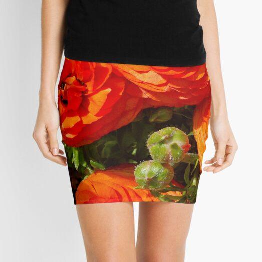 Orange Ranuculus Flower Mini Skirt