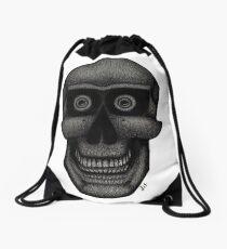 Charcoal Skull Drawstring Bag
