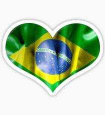 Brazil Flag Textured Heart Sticker