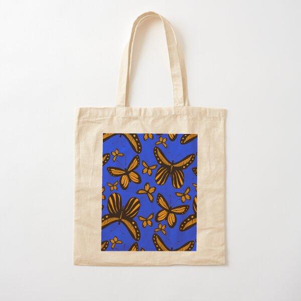 Folkart Butterfly Monarch - Blue & Orange Cotton Tote Bag