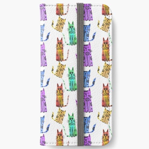 Grumpy Watercolor Cats in Rainbow iPhone Wallet