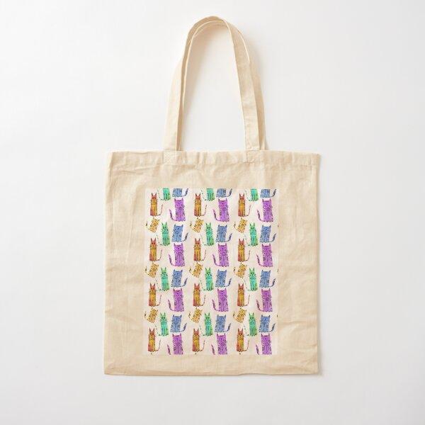 Grumpy Watercolor Cats in Rainbow Cotton Tote Bag