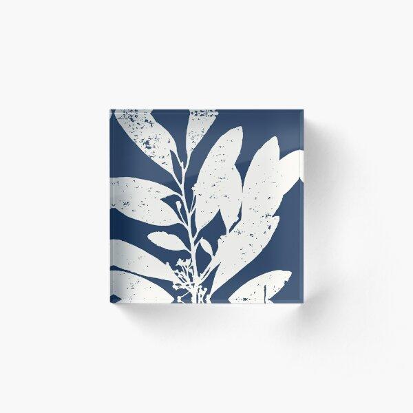 Botanical Study 21, Off White on Dark Navy Blue (part of a set) Acrylic Block
