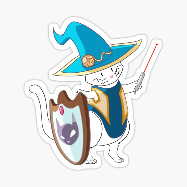 Warrior Witch Cat in Blue Sticker