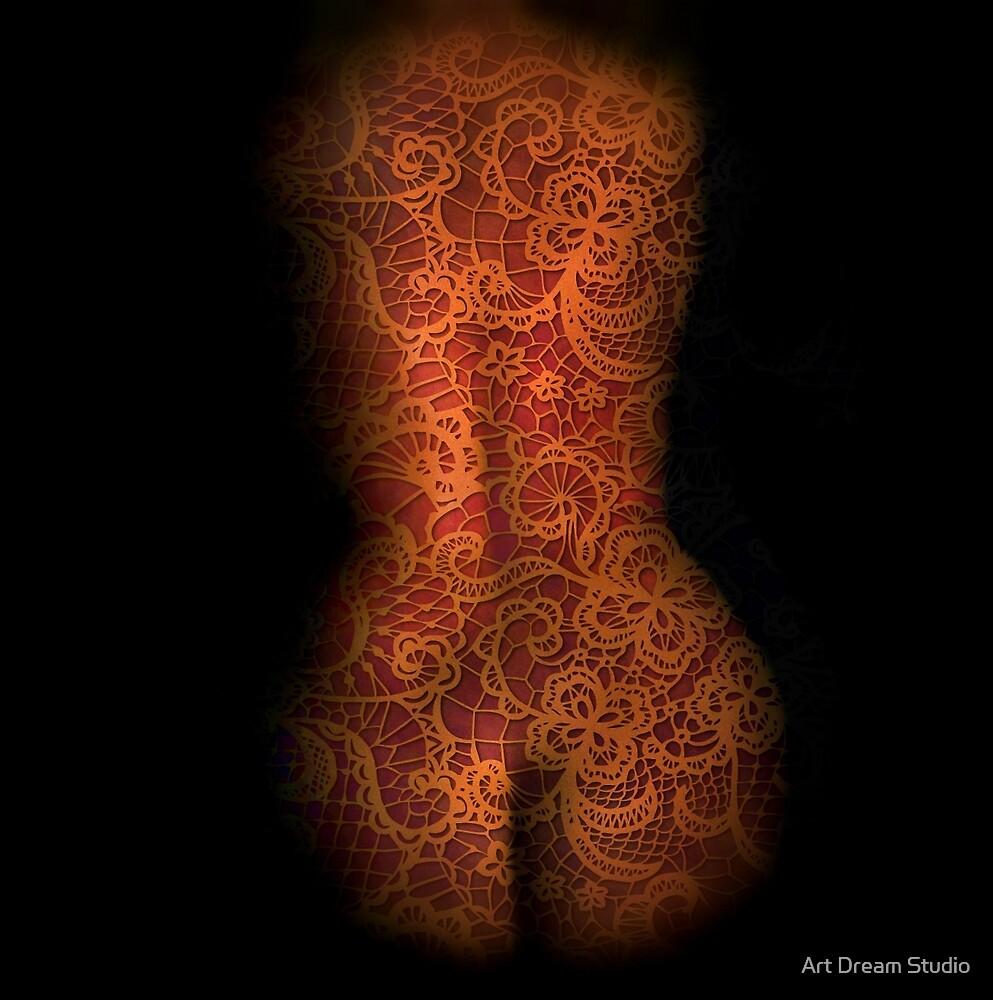 Nude in white lace by Art Dream Studio